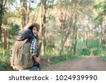 young woman traveller with...   Shutterstock . vector #1024939990