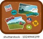 iowa and kansas travel stickers ...   Shutterstock .eps vector #1024944199