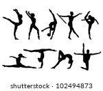 nine black figures of gymnasts... | Shutterstock .eps vector #102494873
