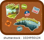 ohio  north carolina travel... | Shutterstock .eps vector #1024950124