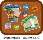 wisconsin  wyoming travel...   Shutterstock .eps vector #1024956379