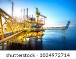 a huge yellow of offshore oil... | Shutterstock . vector #1024972714