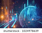 fintech icon  on abstract... | Shutterstock . vector #1024978639