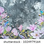 frame watercolor flowers over... | Shutterstock . vector #1024979164