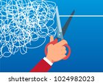 cut the messy line with scissors | Shutterstock .eps vector #1024982023