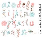 unique vector flower font.... | Shutterstock .eps vector #102498449