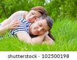 romantic couple enjoying time... | Shutterstock . vector #102500198