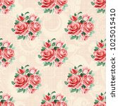 seamless floral pattern with... | Shutterstock .eps vector #1025015410