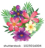 tropical and exotics flowers... | Shutterstock .eps vector #1025016004