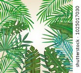 tropical and exotic palms leafs | Shutterstock .eps vector #1025017030