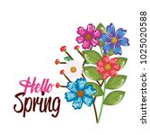 hello spring decorative design | Shutterstock .eps vector #1025020588