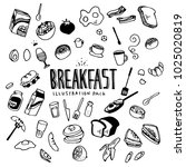 breakfast illustration pack | Shutterstock .eps vector #1025020819