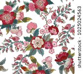 colorful floral seamless vector ... | Shutterstock .eps vector #1025024563