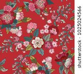 colorful floral seamless vector ... | Shutterstock .eps vector #1025024566