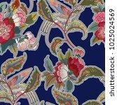 dark enchanted vintage flowers... | Shutterstock .eps vector #1025024569