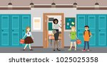 cartoon teacher and students in ... | Shutterstock .eps vector #1025025358