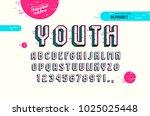 decorative sans serif bulk font ... | Shutterstock .eps vector #1025025448
