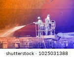 worker at floating dry dock... | Shutterstock . vector #1025031388
