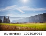 spring field and blue background | Shutterstock . vector #1025039083