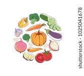 vegan food round concept with... | Shutterstock .eps vector #1025041678