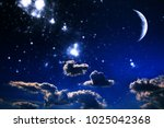 background night sky with stars ... | Shutterstock . vector #1025042368