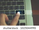 the hand is pressing on the... | Shutterstock . vector #1025044990
