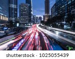 traffic captured with blurred... | Shutterstock . vector #1025055439