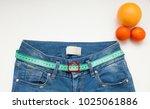 jeans with meter belt slimming. ... | Shutterstock . vector #1025061886