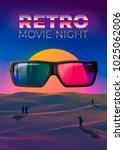 vector retro movie night poster ... | Shutterstock .eps vector #1025062006