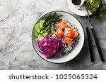salmon cucumber wild rice red...   Shutterstock . vector #1025065324