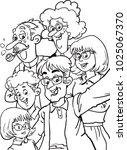 happy extended family | Shutterstock .eps vector #1025067370