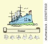 sketch russian cruiser aurora....   Shutterstock .eps vector #1025073310