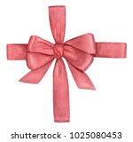watercolor gift red ribbon.... | Shutterstock . vector #1025080453