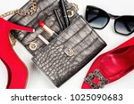 luxury woman fashion... | Shutterstock . vector #1025090683