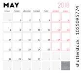 calendar planner for may 2018.... | Shutterstock .eps vector #1025095774