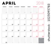 calendar planner for april 2018.... | Shutterstock .eps vector #1025095783