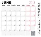 calendar planner for june 2018. ... | Shutterstock .eps vector #1025095786