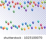 balloons group isolated vector... | Shutterstock .eps vector #1025100070