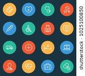 medicine icons line style set