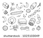 vector food. sausages set. meat ... | Shutterstock .eps vector #1025103049