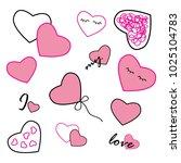 illustration set of a cute pink ... | Shutterstock .eps vector #1025104783