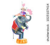circus girl and an elephant... | Shutterstock .eps vector #1025107414