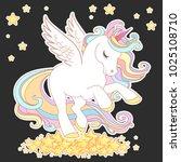Stock vector cute unicorn vector illustration for children design gold hair white wings cute fantasy animal 1025108710