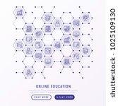 online education concept in... | Shutterstock .eps vector #1025109130
