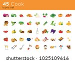 45 cook icons set color full | Shutterstock .eps vector #1025109616