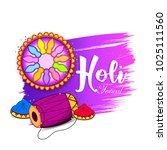happy holi background vector. | Shutterstock .eps vector #1025111560