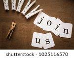 inscription join us on the... | Shutterstock . vector #1025116570