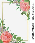 template with flowers and... | Shutterstock .eps vector #1025122018