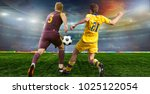 soccer ball on the field of... | Shutterstock . vector #1025122054