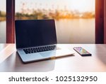laptop with black screen and... | Shutterstock . vector #1025132950